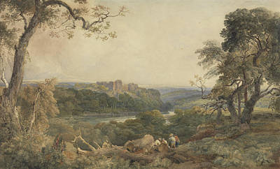 Castle Above A River - Woodcutters In The Foreground Print by Peter de Wint