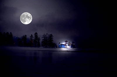 Full Moon Photograph - Castle By The Moon by Emily Stauring