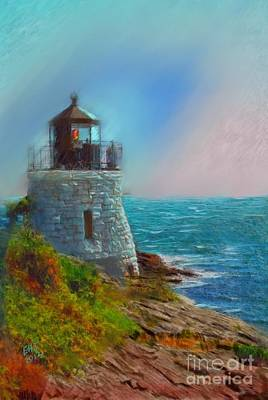 New England Lighthouse Painting - Castle Hill Lighthouse by Earl Jackson