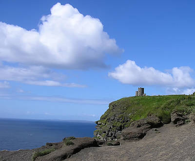 Bluesky Photograph - Castle On The Cliffs Of Moher by Bill Cannon