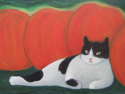 Cat And Moon Painting - Cat And Pumpkins  by Kazumi Whitemoon