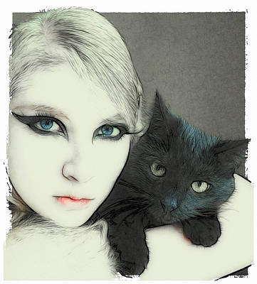 Cat Cuddles 3 Print by Tilly Williams