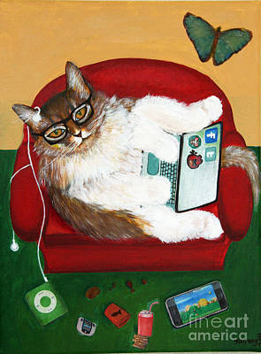Lazy Mixed Media - Cat Diptych 2 by Jinfeng Shi