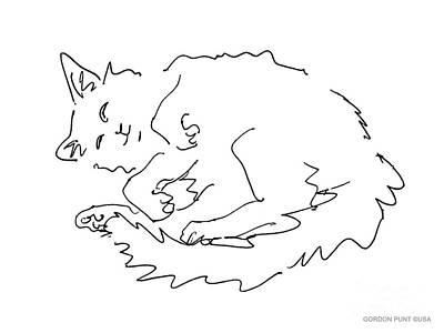Cat-drawings-black-white-1 Print by Gordon Punt