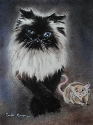 Cat N Mouse Say Cheeeeeeese Print by Carla Carson