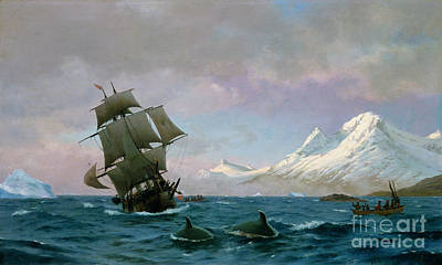 J Boat Painting - Catching Whales by J E Carl Rasmussen