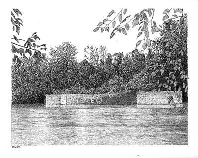 Catfish Drawing - Catfish Dam Schuylkill River Pa by Scott Woyak