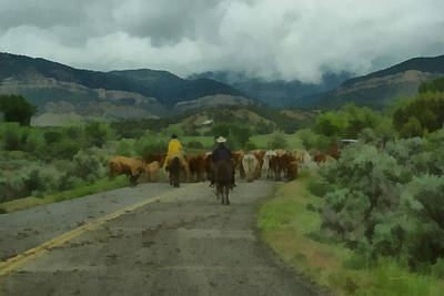 Cattle Drive Digital Art - Cattle Drive 2 by Ernie Echols