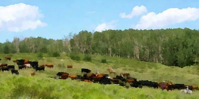 Cattle Drive Digital Art - Cattle Drive by Ernie Echols