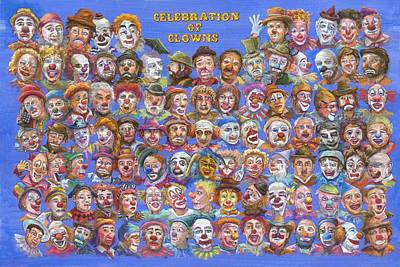 Rodeo Clown Painting - Celebration Of Clowns by Sam Pearson