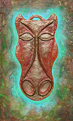 Celtic Horse Head Mask Print by Zoran Peshich
