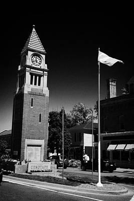 Cenotaph Clock Tower And Flagpole Niagara-on-the-lake Ontario Canada Print by Joe Fox