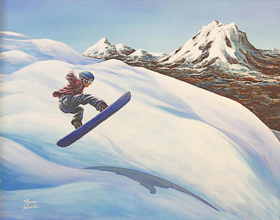 Skiing Action Painting - Central Oregon Snowboarding by Janice Smith