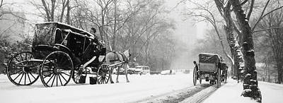 Central Park In Falling Snow Print by Axiom Photographic