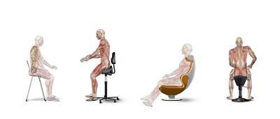 Chair Ergonomics, Correct Postures Print by Claus Lunau