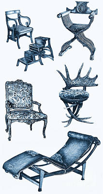 Chair Poster In Blue Print by Adendorff Design