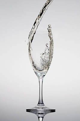 Champagne Being Poured Into A Glass Print by Dual Dual
