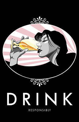 Wine Service Digital Art - Champagne Drinking Woman Propaganda Style by Jay Reed