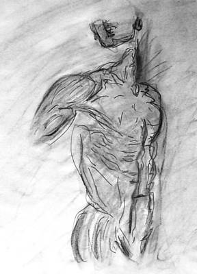 Statue Portrait Drawing - Charcoal Classic Jesus Male Nude Looking Over Shoulder Sketch In A Sensual Primal Erotic Black White by M Zimmerman