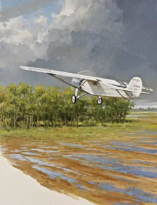 St. Louis Mixed Media - Charles Lindbergh Taking Off by Cliff Spohn