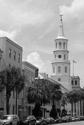 Palmetto Tree Photograph - Charleston Street Scene In Black And White by Suzanne Gaff