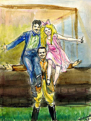 Artist Fashion Art Drawing - Charlie Doug And Mary by Mel Thompson