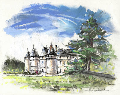 Chateau Drawing - Chateau De Chaumont In France by Miki De Goodaboom