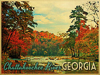 Camping Digital Art - Chattahoochee River Georgia by Flo Karp