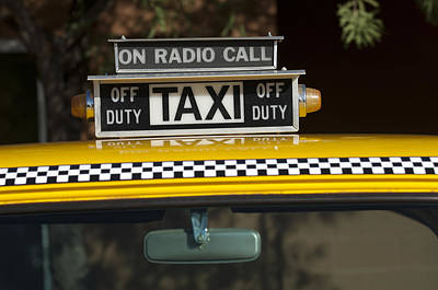 Checker Taxi Cab Duty Sign 2 Print by Jill Reger