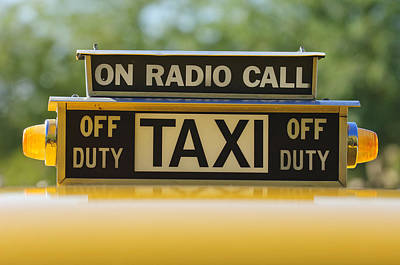 Checker Cab Photograph - Checker Taxi Cab Duty Sign by Jill Reger