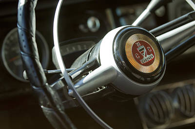 Checker Taxi Cab Steering Wheel Print by Jill Reger