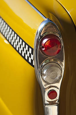 Checker Cab Photograph - Checker Taxi Cab Taillight by Jill Reger