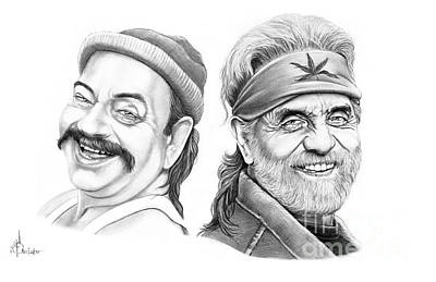 Famous People Drawing - Cheech And Chong by Murphy Elliott