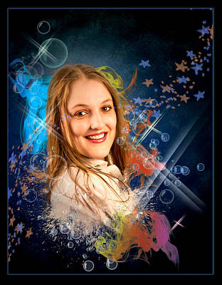 Rustenburg Digital Art - Cheree In Bubbles by Ronel Broderick