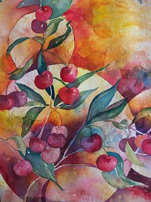 Cherries In The Sun Print by Sandy Collier