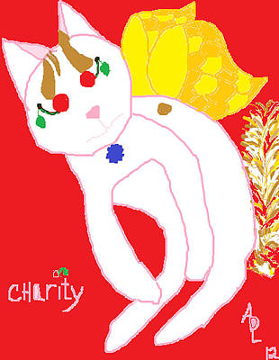 Turkish Van Cat Painting - Cherries Jubilee by Anita Dale Livaditis