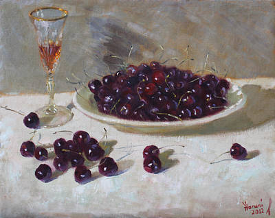 Glass Painting - Cherries by Ylli Haruni