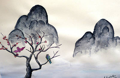 Watercolor Painting - Cherry Blossom Mountains by Anthony Nold