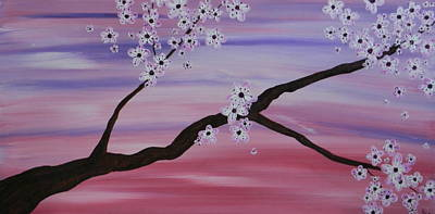 Cherry Blossoms At Sunrise Print by Heather  Hubb