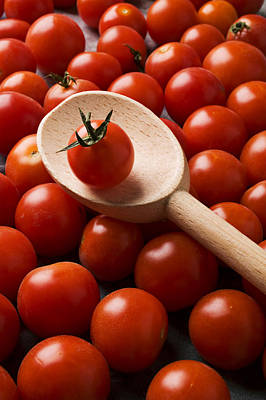 Cherry Tomatoes And Wooden Spoon Print by Garry Gay