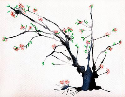 Cherry Tree By Straw Print by Helaine Cummins