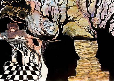Concept Art Inks Drawing - Chess Game by Valentina Plishchina