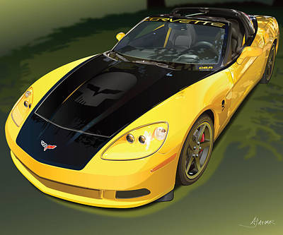 Automotive.digital Digital Art - chevrolet corvette C6.R for the street  by Alain Jamar
