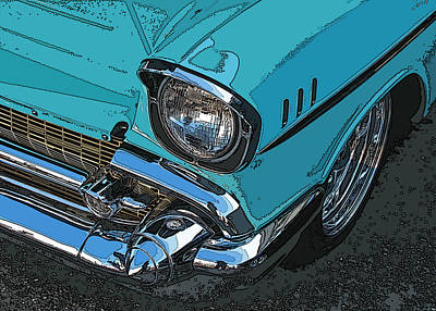 Chevy Bel Air Headlight And Bumper Print by Samuel Sheats
