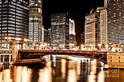 Chicago At Night At State Street Bridge Print by Paul Velgos