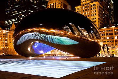 Chicago Cloud Gate Luminous Field Print by Paul Velgos