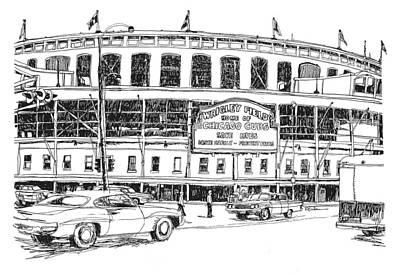 Wrigley Field Drawing - Chicago Cubs Wrigley Field by Robert Birkenes