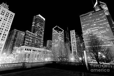 Stone Buildings Photograph - Chicago Downtown At Night  by Paul Velgos