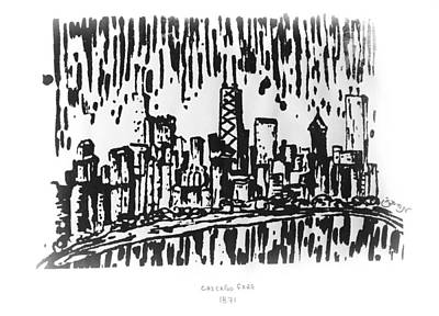 Lake Michigan Drawing - Chicago Great Fire Of 1871 Serigraph Of Skyline Buildings Sears Tower Lake Michigan Hancock Bw by M Zimmerman