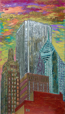 Chicago Painting - Chicago Metallic Cityscape by Char Swift
